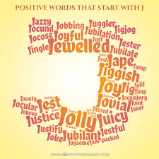 positive words that start with j word cloud small
