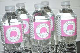 Decorating Water Bottles For Baby Shower Girls Elephant Baby Shower Water Bottle Labels It's A 4