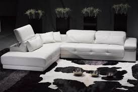 intriguing white leather sectional sleeper sofa with cowhide rug and gray rug plus modern indoor black