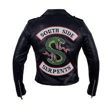 details about riverdale southside serpents black motorcycle biker top leather jacket for men