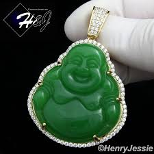 details about men 925 sterling silver lab diamond iced bling jade gold buddha pendant gp148