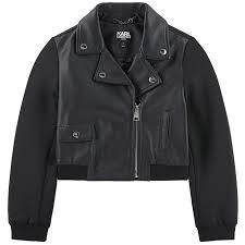 karl lagerfeld kids karl sheep leather and neoprene biker jacket 253883