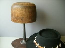 Wooden Hat Display Stand Industrial Hat Form on a stand wooden hat display hat holder 2