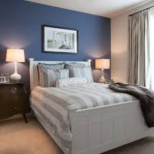 blue accent wall master bedroom - With grey accents