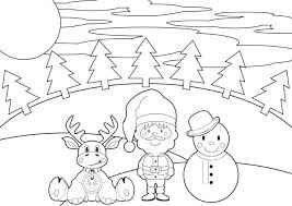 Small Picture Reindeer Santa And Snowman Christmas Coloring Pages Printable