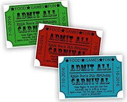 Carnival Birthday Invitations Amazon Com Carnival Ticket Birthday Invitations Boy Girl