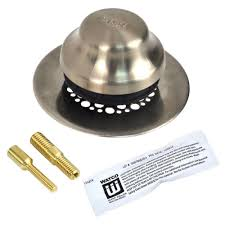 watco universal nufit foot actuated bathtub stopper with grid strainer and 2 pin adapters