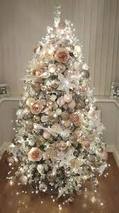Light Pink And White Christmas Tree Rose Gold And Bush Pink Flocked Christmas Tree Christmas