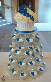 12 Blue And White Cupcake Wedding Cakes Photo Blue And White