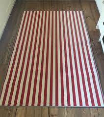 red white striped rug 196cm x 133cm