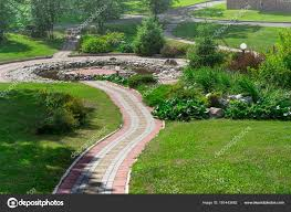 Landscape Design Concept Cobbled Path Park Decorative Pond Landscape Design Concept