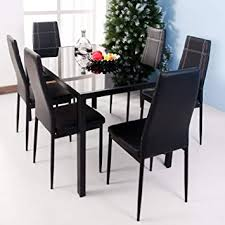 image unavailable image not available for color merax 7 piece dining set gl top metal table 6 person table and chairs