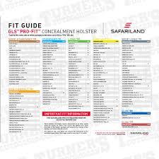 Safariland 578 Fit Chart Safariland 578 Gls Pro Fit Holster