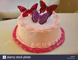 Butterfly Birthday Cake Stock Photos Butterfly Birthday Cake Stock