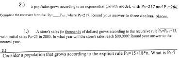 Solved 2 A Population Grows According To An Exponential