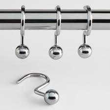 chrome ball hook shower curtain rings set of 12 world market stylish remodeling 1