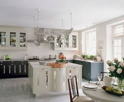 Hanging Pan Racks For Kitchen Rural Kitchen With Hanging Pot Rack Lighting Over Wooden Island