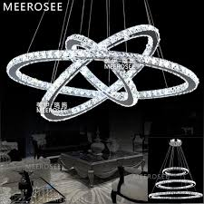 hot modern diamond ring led crystal chandelier light modern led lighting circles lamp 100