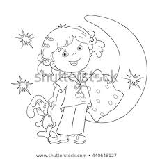 Coloring Page Outline Cartoon Girl Pajamas Stock Vector Royalty