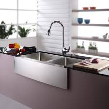 kraus 36 inch farmhouse double bowl stainless steel kitchen sink with kitchen faucet and soap dispenser
