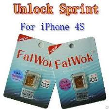 carrier unlock sim card. falwok unlock for iphone 4s gsm wcdma only use sprint work ios 5.0 to 6.1. carrier sim card