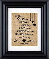 15th anniversary gifts personalized anniversary burlap print for 1st 5th 10th 20th