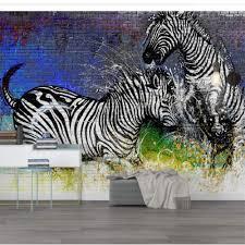 Amazoncom Amazhen Modern Sleek Watercolor Zebra Brick Wall Cool