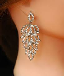 crystal wedding earrings bridal earrings silver chandelier earrings fall wedding earrings