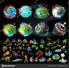 Evolution Of Game Design Set Of Planets And Elements For Game Design Stock Vector