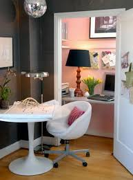 pink home office design idea. Tiny Home Office In A Cupboard Pink Design Idea