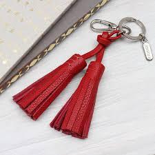 original personalised nappa leather tassel bag charm 5