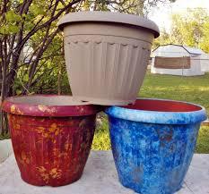 International Painted Plastic Flower Pots
