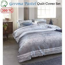 300tc cotton percale gerona pastel quilt duvet cover set queen king super king
