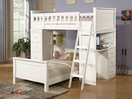 white bunk beds with stairs plus drawers and computer desk with wooden floor for kid bedroom