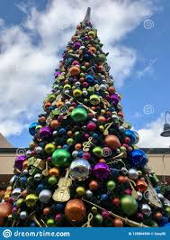 Musical Outdoor Christmas Lights Giant Outdoor Christmas Tree At A Mall Stock Photo Image