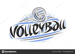 Volleyball Word Vector Logo Volleyball Outline Illustration Thrown Ball Goal