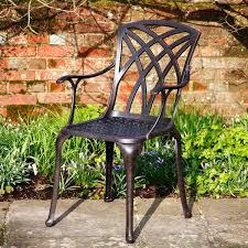 metal garden chair in antique bronze