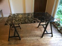 glass top trestle dining table ikea large rectangular 80cm x 150cm glass top trestle dining table