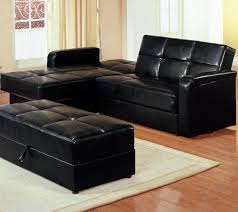 maximizing small living room spaces with american black leather sectional sleeper sofa and leather ottoman table with storage on brown carpet tiles