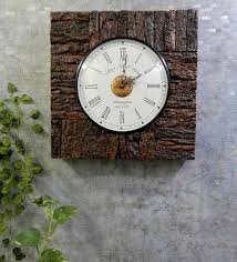 solid wood square og wall clock