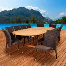 osborne 13 piece teak wicker double extendable oval patio