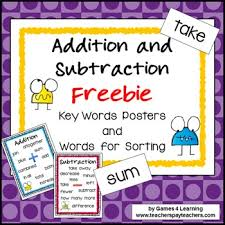 Addition Key Words Chart Addition And Subtraction Operations Key Words Posters And