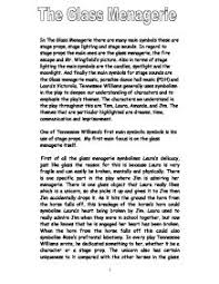 the glass menagerie symbols gcse english marked by teachers com  tennessee williams · the glass menagerie page 1 zoom in
