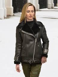 higgs leathers new avro las designer black shearling flying jacket