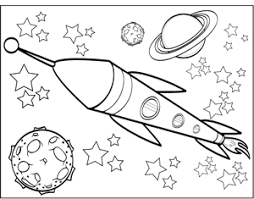 Saturn And Spaceship Coloring Page
