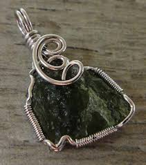 handmade moldavite and sterling silver wire wrap pendant