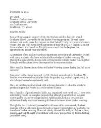 Recommendation Letter For Grad School Typical Letter Of Recommendation Sample For Graduate School