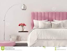 Modernes Schlafzimmer Mit Rosa Bett Stock Abbildung Illustration