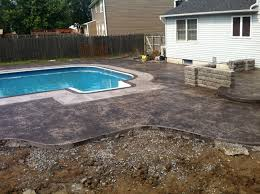 stamped concrete pool patio. Stamped Concrete Pool Deck With Patio T