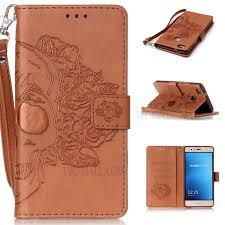 imprinted leather wallet mobile cover for huawei p9 lite g9 lite skull with flowers